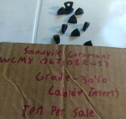 Sandvik Coromant WCMX 06T308R-53 Grade-3040 Carbide Inserts Ten Per Sale