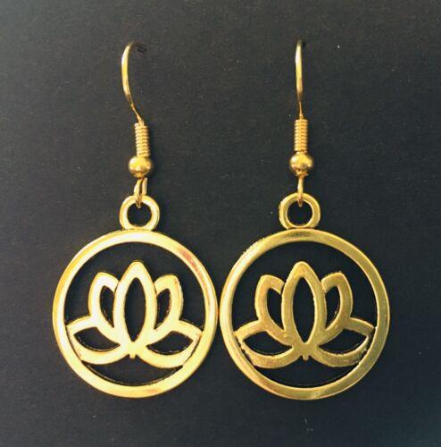 Yoga Buddha Lotus Flower Gold coloured Dangle Earrings Pretty Cute