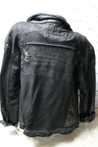 Italy Jacke Gr 36 38 40 42 Leder Optik Jacke Jeansjacke schwarz Biker blogger