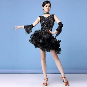 Children Girl Latin Dance Dress Salsa Tango Cha cha Ballroom Tassel Dress 2Color