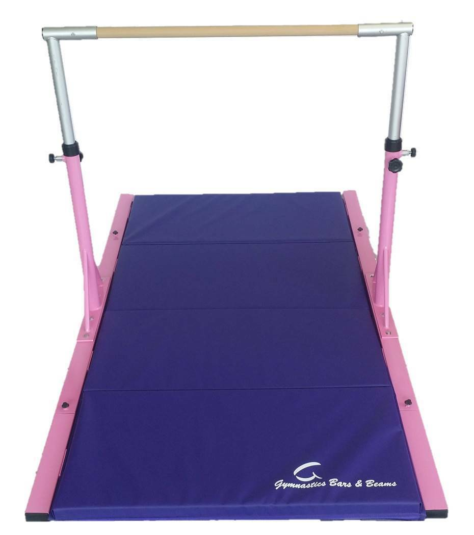 Gymnastics Bar 3-5ft Adjustable Pink Bar with EXTENSIONS and Purple Mat