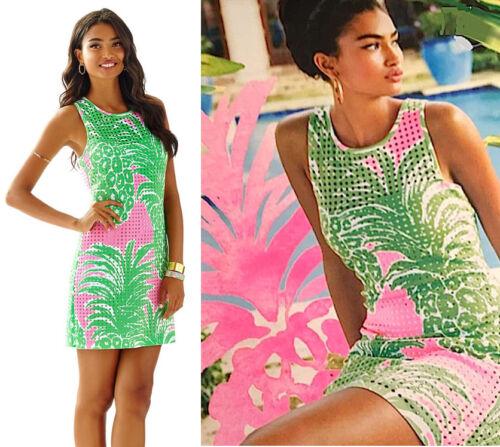 $198 Lilly Pulitzer Perla Pink Pout Flamenco Laser Cut Scuba Ponte Shift Dress