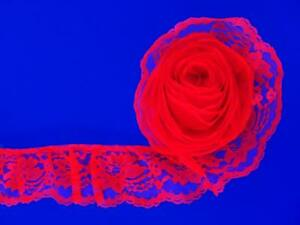Rojo-7-6cm-Ancho-Volantes-Encaje-Floral-Ribete-por-4-6m