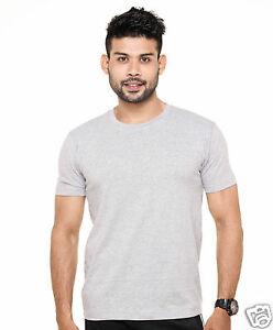 Plain Round Neck T-Shirt Grey Milange Color - 100% Cotton