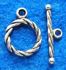 50Sets WHOLESALE Tibetan Silver ROUND Twist Toggle Clasps Connectors Hooks Q0301