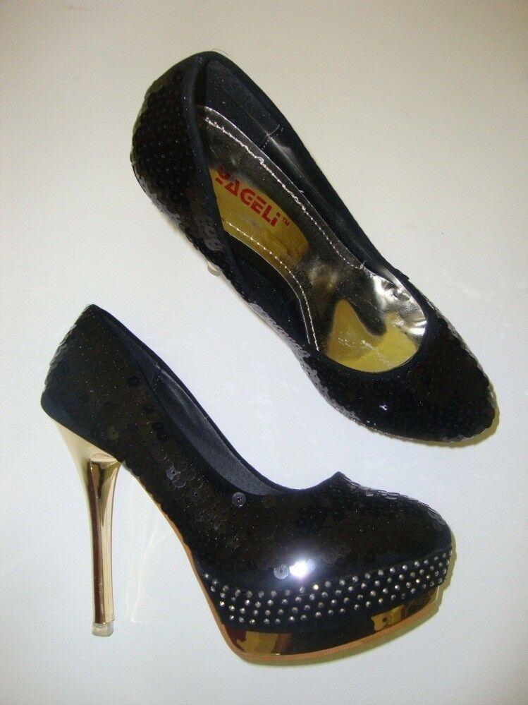 YAGELI Damen Pumps / High Heels / Stöckelschuhe mit Pailetten schwarz 38 NEU