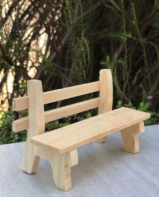 Miniature Dollhouse FAIRY GARDEN Furniture ~ Natural Wood Wooden Park Bench  NEW