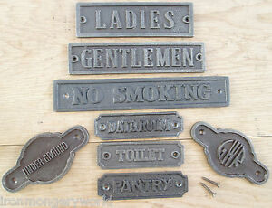 CAST-IRON-WALL-DOOR-SIGNS-NOTICE-PLATE-PLAQUE-WC-KITCHEN-TOILETS-WOMEN-MENS