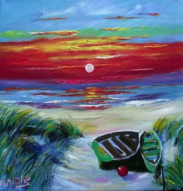SUNSET AT TROON  HEBRIDEAN COLOURIST IMPRESSIONIST OIL PAINTING : NATALIE SOUTER