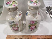 """Old Paris Porcelain Pair Perfume Cologne Decanter Bottles gilt flowers 7"""" c1860"""