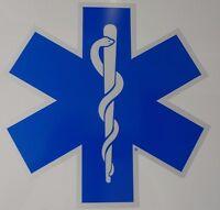 14 Star Of Life - Ambulance Decal -reflective Blue W/ White Border