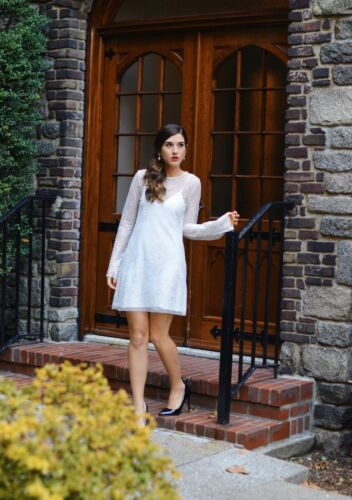 M Ref 0387//266 ZARA NEW WOMAN SHORT TULLE DRESS WHITE//SILVER SIZE