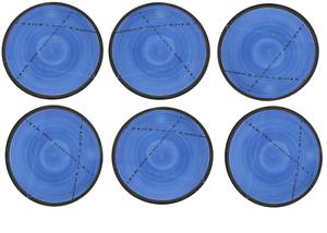 Dinner Plate or Dish Set of 6 - Handmade Ceramic - bluee 8.6  - 22cm