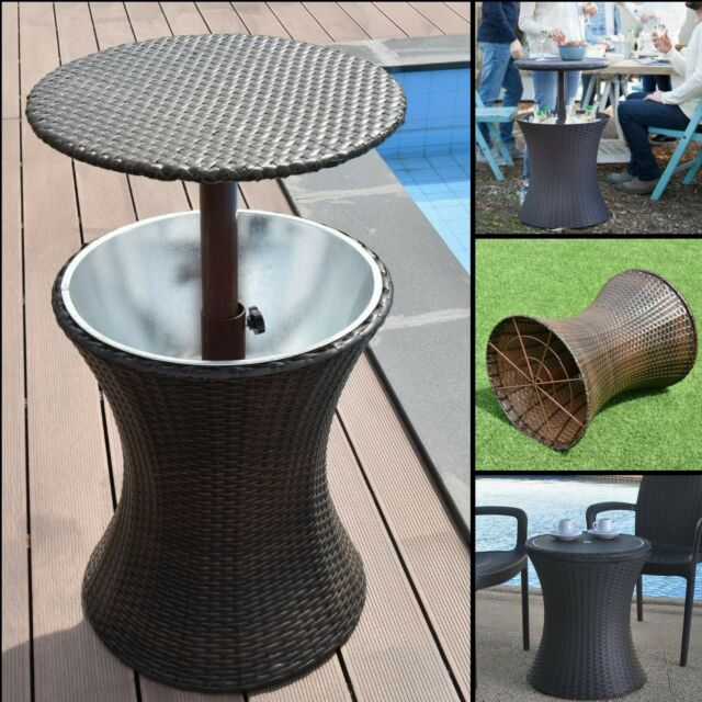 Round Bar Table Outdoor Patio Pub Bistro Furniture Dining Set Drink