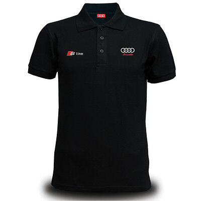 Genuine Audi S Line Car Racing Team Streetwear Motorsport Black Men Polo T-Shirt