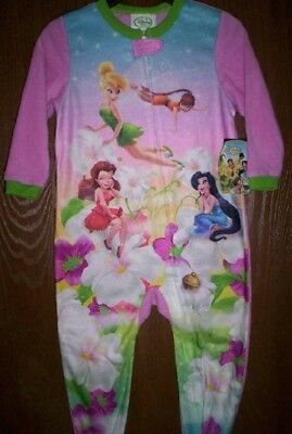 Tinkerbell Full Zip Purple Flakes One Piece Footed Pajama PJ Girls Size 4T NWT