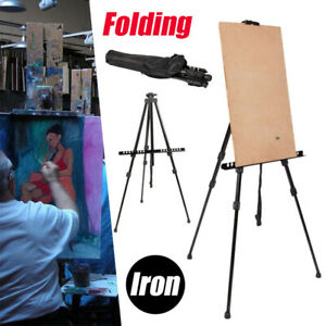 Artist-Easel-Iron-Field-Tripod-Stand-Carry-Bag-for-Floor-Art-Adjustable-Height
