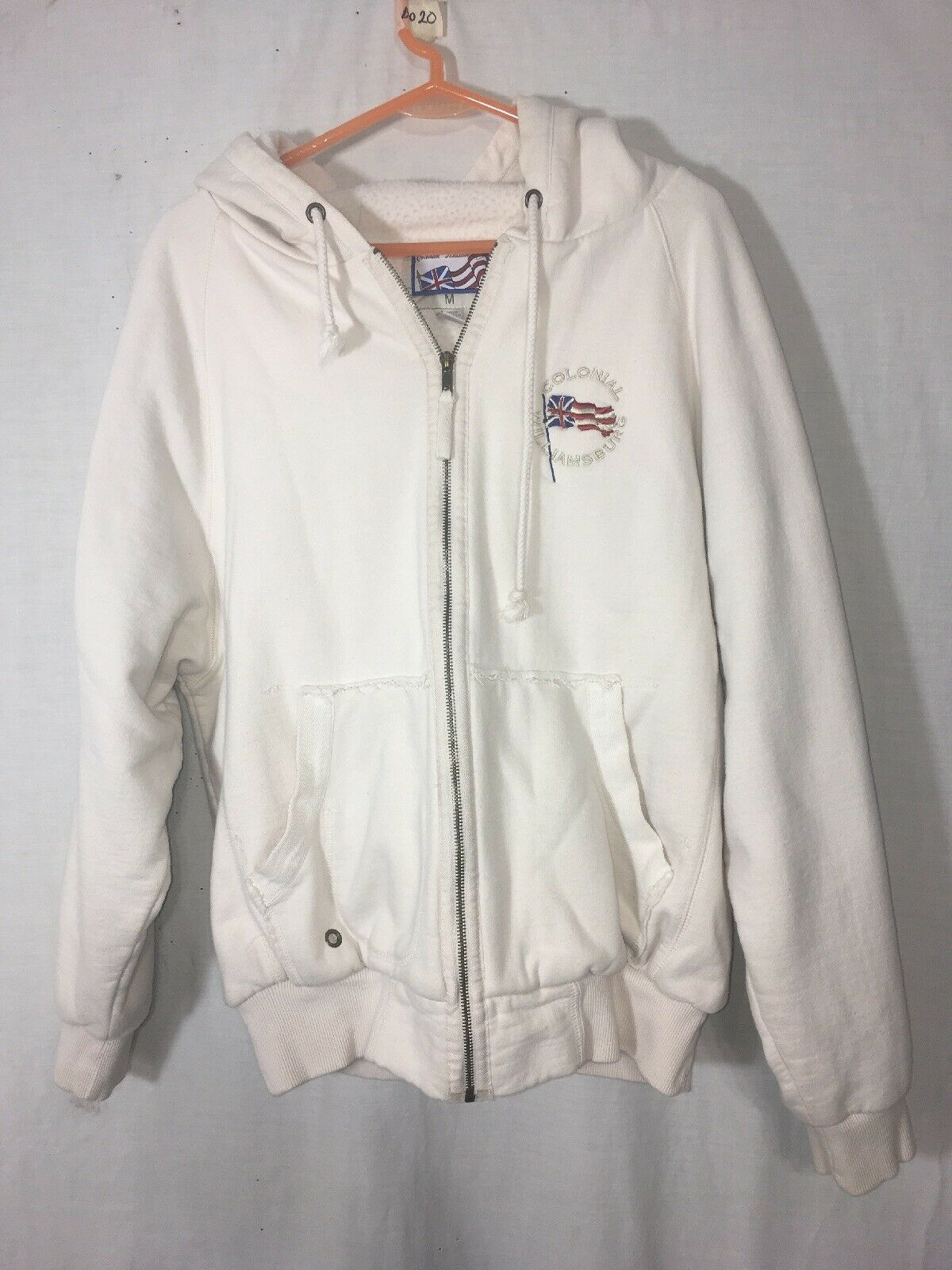 Colonial Williamsburg Women's Hoodie Sweatshirt Size M Off-White Embroidered