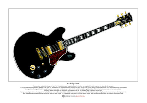 B King/'s Lucille guitar Limited Edition Fine Art Print A3 size B