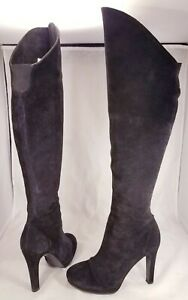 THEORY-ITALIAN-WOMAN-BLACK-SUEDE-BOOTS-SIZE-37-7-KNEE-HIGH