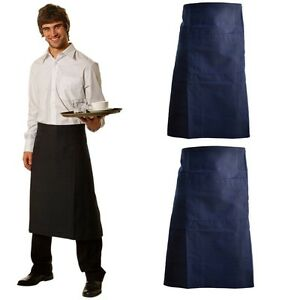 NEW MENS LONG WAIST APRON KITCHEN BAR WAITER CHEF COOK MEN'S WORK APRONS