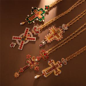 Orthodox Pectoral Cross Collares Crown byzantine Catholic Crucifix Pendant
