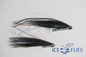 ICE-FLIES-Tube-fly-Sunray-shadow-034-Bismo-034-Black-Pick-a-size-3-pack