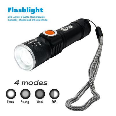 2x Starke LED USB Taschenlampe Polizei Swat Wiederaufladbar Cree 1200Lumen Lampe