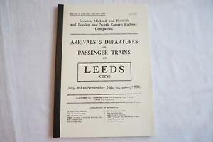 1939 Fascimilie Arrivals Departures Passenger Trains Leeds