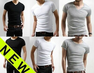 Men's Slim Fit V-neck/crew neck T-shirt Short Sleeve Plain Muscle Tee Small Size