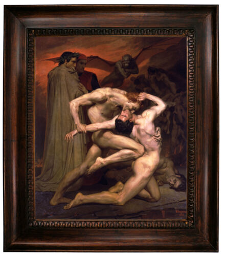 Bouguereau Dante and Virgil in Hell Framed Canvas Print Repro 20x24
