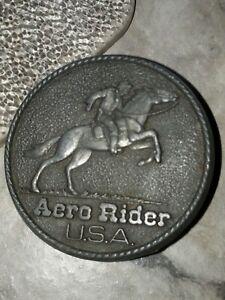 Vintage Aero Rider Pin Back Button Cowboy Bronco Rodeo USA Metal