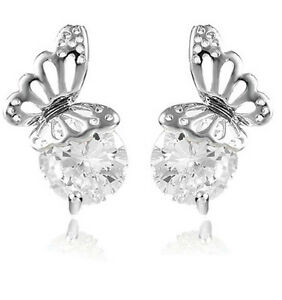 Shiny-Evening-Bridal-or-Party-Silver-amp-White-Zircon-Butterfly-Stud-Earrings-E629