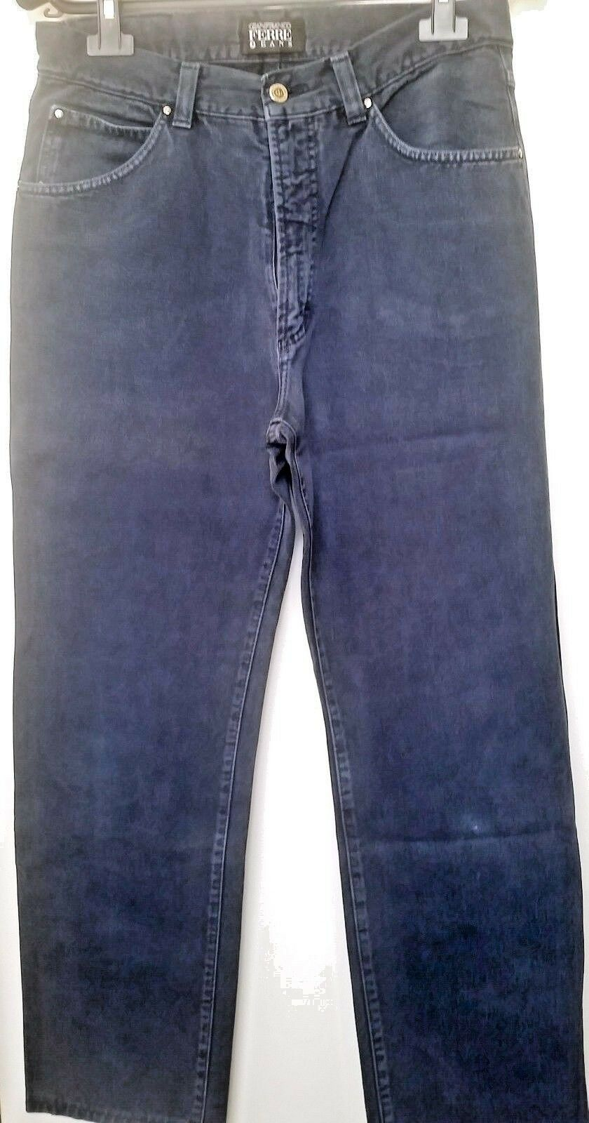 GIANFRANCO FERRE Jeans MEN Navy blueE Cotton PANTS 34 48 HIGH RISE From  EUC