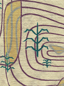 RARE-FIND-FOUR-DRAPERY-PANELS-MCM-Abstract-Cornfield-Vintage-Barkcloth-65-034-x-43-034