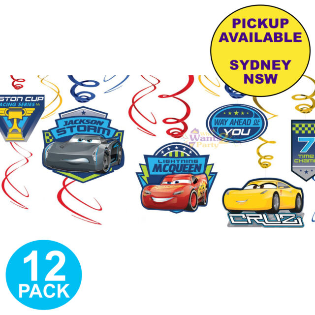 DISNEY CARS 3 PARTY SUPPLIES 12 SWIRL HANGING BIRTHDAY DECORATIONS