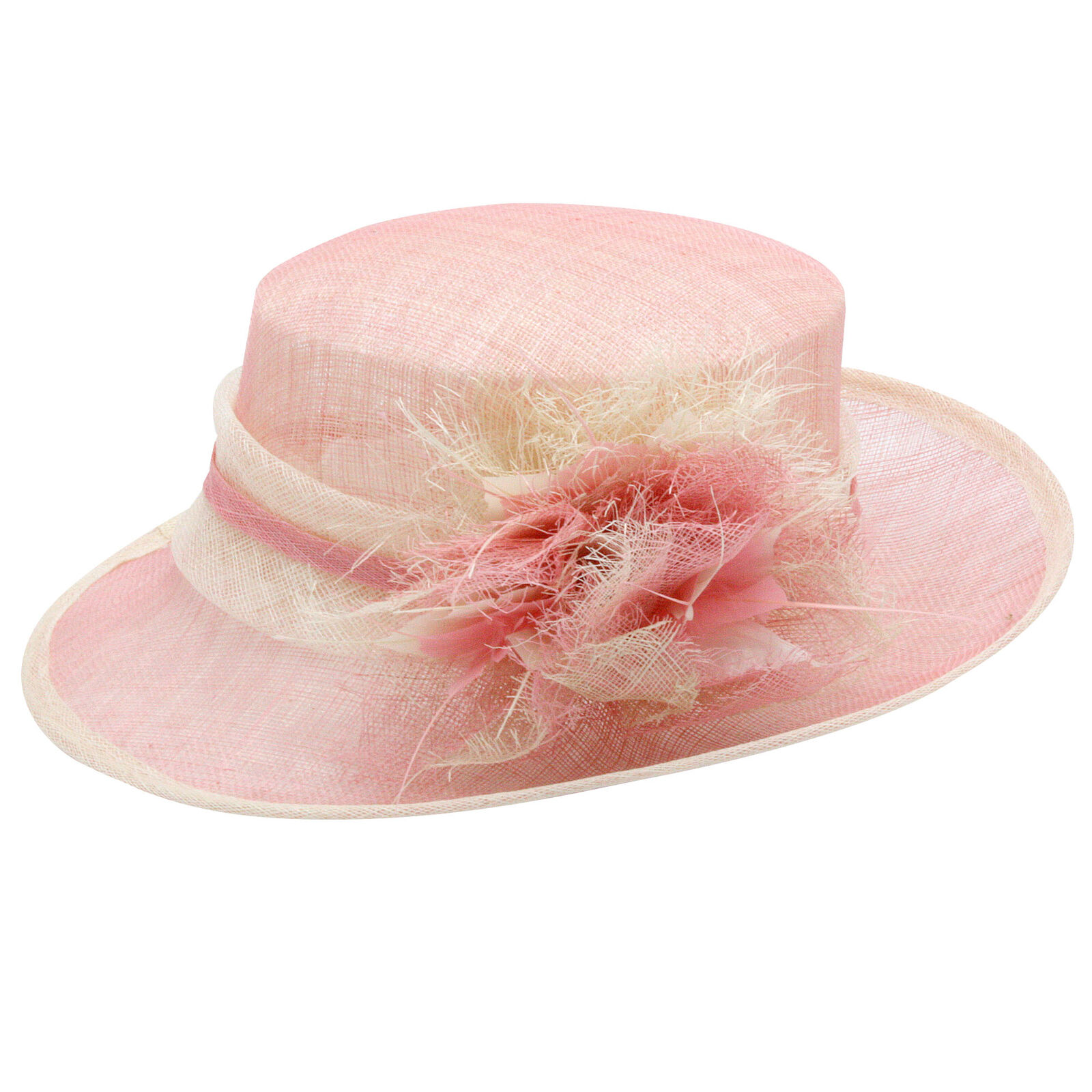 Flower hat wedding curly feather sisal (pink, blue, grey) new