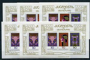 Bund-Block-14-6-Stueck-postfrisch-Jugendstil-BRD-1977-Block-Sammlung-MNH