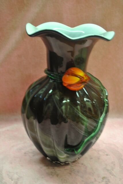 Vintage Art Glass Vase 11 Inches Tall With Rosebud Applied Glass