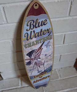 BLUE WATER CHARTERS SWORDFISH FISHING SURFBOARD SIGN Nautical Sailing Decor NEW