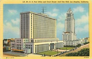 Linen-Postcard-CA-K485-Post-Office-Court-House-City-Hall-Los-Angeles-Cancel-1949