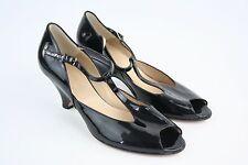HOBBS Patent Black Wedges Sandals Peep Toes Heels UK 6.5