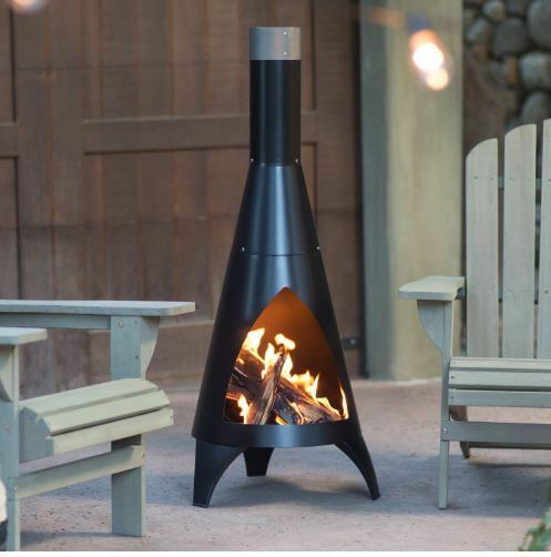 Outdoor Steel Chiminea Wood Burning Fireplace Backyard Patio Garden Deck  Black | EBay