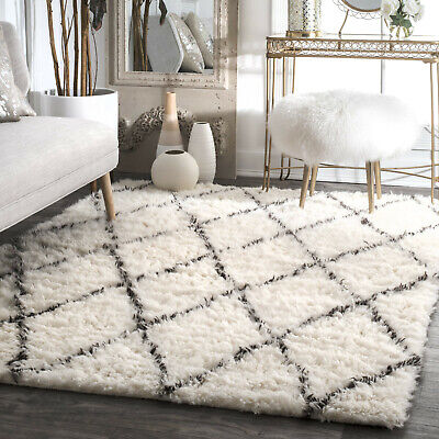 Gy Modern Rug Diamond Pattern Woolen Handmade Off White Living Room Mat Ebay