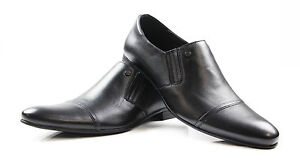 MENS-ZASEL-SAMI-Black-Leather-Work-Formal-Casual-Dress-Loafers-Slip-On-Men-Shoes