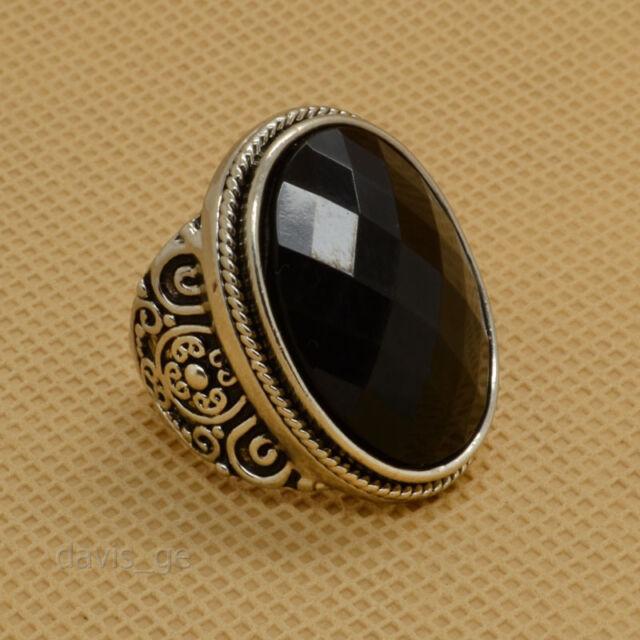 1pcs Fashion Vintage Silver Big Black Rhinestone Cocktail Rings WVF