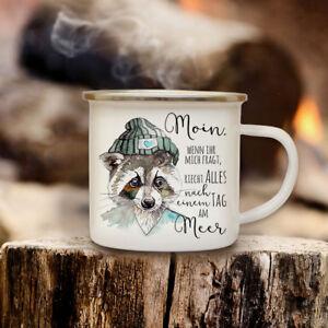Emaille Tasse Becher mit Camper Surfbus campingtasse Kaffeebecher Freunde eb06