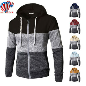 Men-Warm-Hoodie-Hooded-Sweatshirt-Zip-Coat-Jacket-Outwear-Jumper-Winter-Sweater