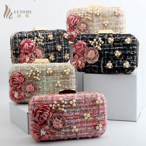 Fashion-Evening-Party-Handbag-Clutch-Wallet-Shoulder-Bag-Prom-Pearl-Flower-purse