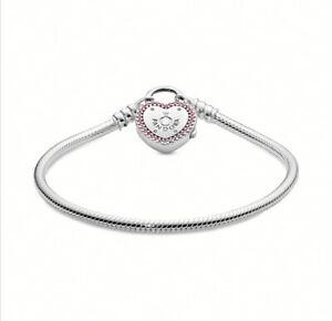 Details about Hot Sale! Genuine Pandora Moments Heart Padlock Clasp Snake  Chain Bracelet